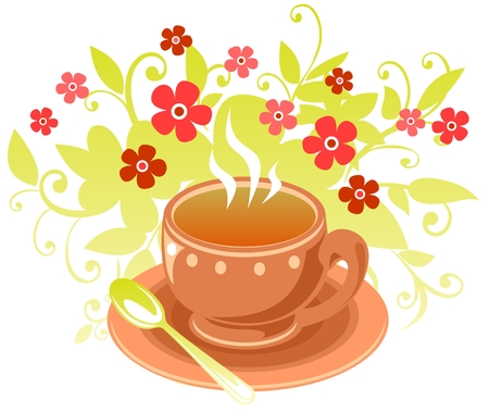 Stylized tea cup with  flowers isolated on a white background.