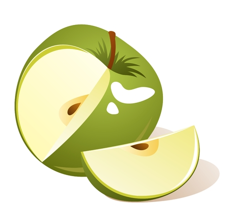 Stylized green apple with slice isolated on a white background.