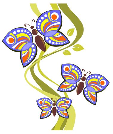 Pattern with cartoon butterflies and strips on a white background.