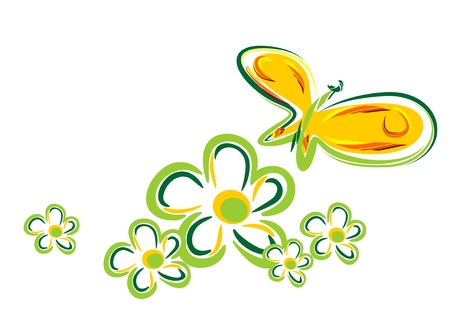 Stylized  butterfly and  flowers isolated on a white background.