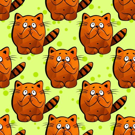 Scared cats on a green background