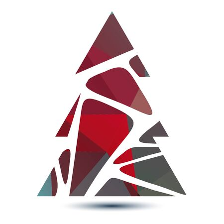 Polygonal bright striped abstract Christmas tree isolated on a white background.のイラスト素材