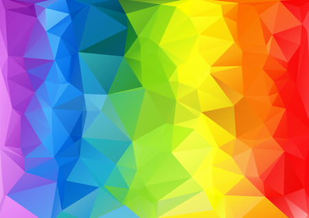 Illustration pour Polygonal horizontal abstract multicolored bright rainbow background. - image libre de droit