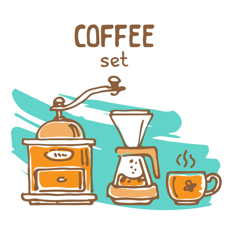 Set of doodle hand drawn sketches isolated on white background. Filter coffee pots and coffee grinder. Design elements for cafe menu, fliers and chalkboards.