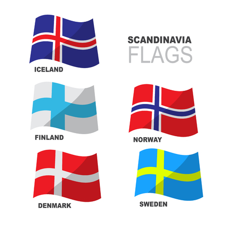 Set of Scandinavian flags isolated on white background