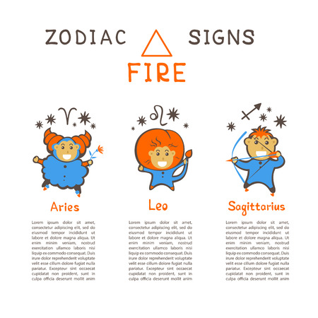 Zodiac signs according to Fire element: Aries, Leo
