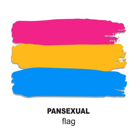 Illustration pour Pansexual pride flag isolated on white background. Gay pride symbol. Design element for banner, poster or leaflet. Grunge style. - image libre de droit