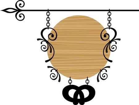 Wooden sign with place for text, vector illustration
