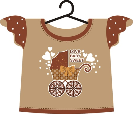 Brown T-shirt for a young child. Front depicts an old pram