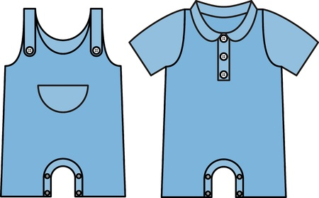 Image jumpsuit with an outline. Denim dress for baby