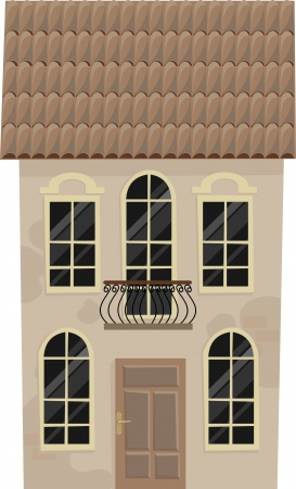 old house with a balcony,  illustration