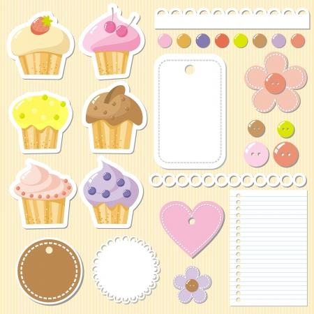 Ilustración de set of elements to scrapbook with cakes,  illustration - Imagen libre de derechos