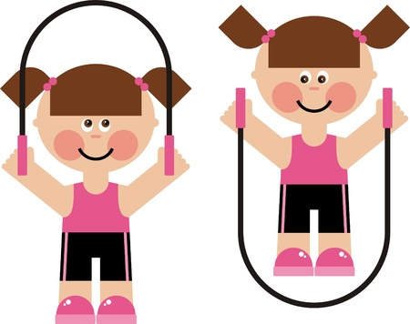 children s sports, girls jumping rope