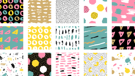 Ilustración de Trendy vector seamless colorful pattern with brush strokes. Design backgrounds for wallpaper, cover. Hand drawn abstract card, pastel and gold colors. Vector illustration - Imagen libre de derechos