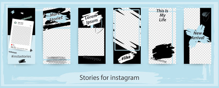 Ilustración de Trendy editable templates for instagram stories, vector illustration. Design backgrounds for social media. Hand drawn abstract card. - Imagen libre de derechos