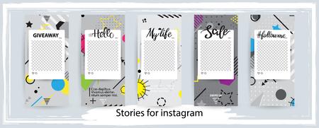 Illustration pour Trendy editable template for social networks stories , vector illustration. Design backgrounds for social media. - image libre de droit