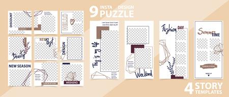Illustration pour Trendy editable template for social networks stories and posts, vector illustration. - image libre de droit