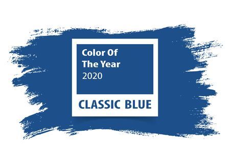 Ilustración de Color palette on grunge background. Color of the year 2020 classic blue for advertising. Vector illustration. - Imagen libre de derechos