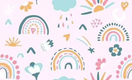 Illustration pour Seamless vector pattern with hand drawn rainbows and sun. Trendy baby texture for fabric, textile, wallpaper, apparel, wrapping - image libre de droit