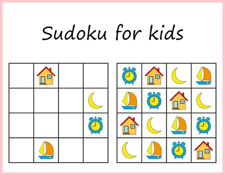 Illustration pour Sudoku for kids. Game for preschool kids, training logic. Worksheet for children. - image libre de droit