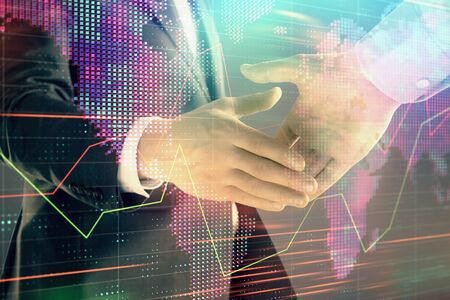 Photo pour Multi exposure of forex graph and world map on abstract background with two businessmen handshake. Concept of success on international markets - image libre de droit