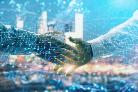 Photo for Double exposure of abstract technology drawing on cityscape background with two businessmen handshake. Concept of tech role in business - Royalty Free Image