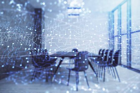 Photo pour Double exposure of technlogy theme abstract hologram on conference room background. Concept of hightech - image libre de droit