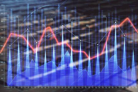 Foto de Financial chart hologram with abstract background. Double exposure. Concept of market analysis - Imagen libre de derechos