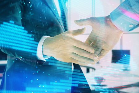 Photo pour Double exposure of hacking theme hologram on office background with two men handshake. Concept of data security - image libre de droit