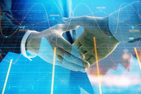 Photo pour Double exposure of financial chart on cityscape background with two businessmen handshake. Concept of financial analysis and investment opportunities - image libre de droit