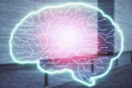 Photo pour Double exposure of brain sketch hologram on empty exterior background. big data concept - image libre de droit