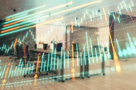 Foto de Stock market chart with trading desk bank office interior on background. Double exposure. Concept of financial analysis - Imagen libre de derechos