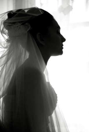 few minutes before wedding. female black and white portrait