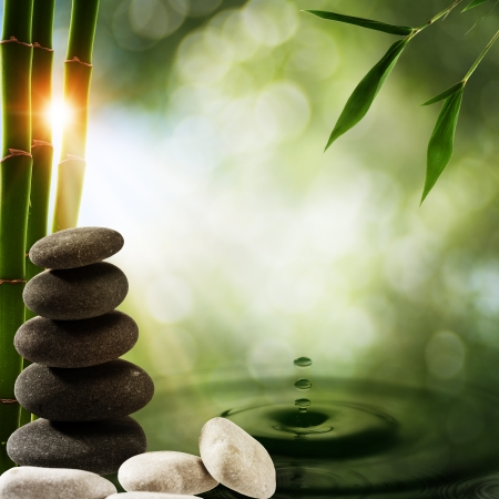 Photo pour Abstract eco backgrounds with bamboo and water splash - image libre de droit