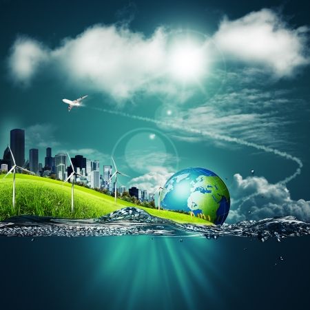 Abstract ecosystem backgrounds under the blue skies for your design