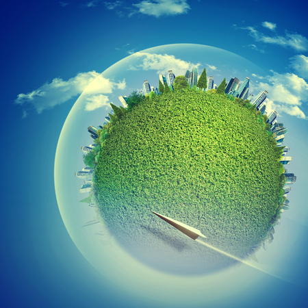 Photo pour Eco backgrounds with Earth globe and flying jet over blue skies - image libre de droit