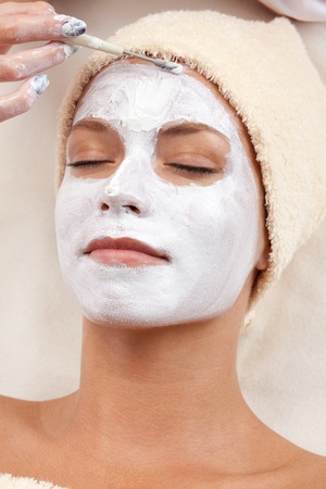 Healthy spa  young beautiful relaxing woman having moistening mask applied  XXXL