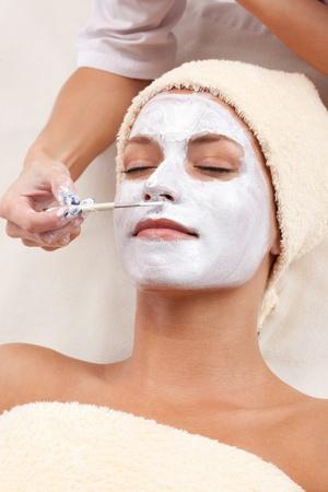 Healthy spa  young beautiful relaxing woman having moistening mask applied  XXXL