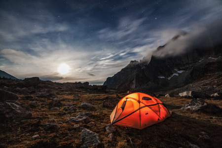 Camping in the mountains. Moon night