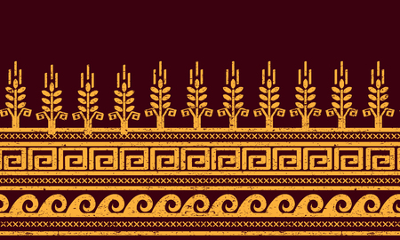 Ethnic seamless pattern with wheat, meander, and water symbols.