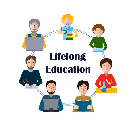 Illustration pour Lifelong Education Concept. Studying Man of all Generations. Ability to learn in each human age. Preschool, Primary School, Secondary School, Bachelor and Master at University, PhD, Postdoctoral Study - image libre de droit