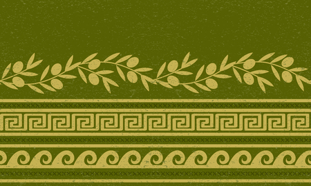 Seamless pattern with olives, wheat, and greek symbols. Rich ancient stylized ornament.