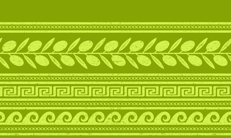 Seamless pattern with olives and greek symbols. Geometric background
