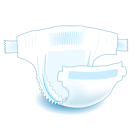 Illustration pour Baby absorbent diaper. Realistic vector illustration for diapers packs, and other babies production. - image libre de droit