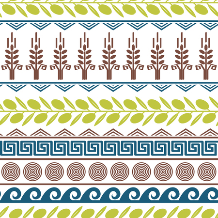 Cute seamless pattern with olives, wheat, and greek symbols.