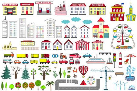 Illustration pour Set of cartoon city map elements. Vector illustration. - image libre de droit