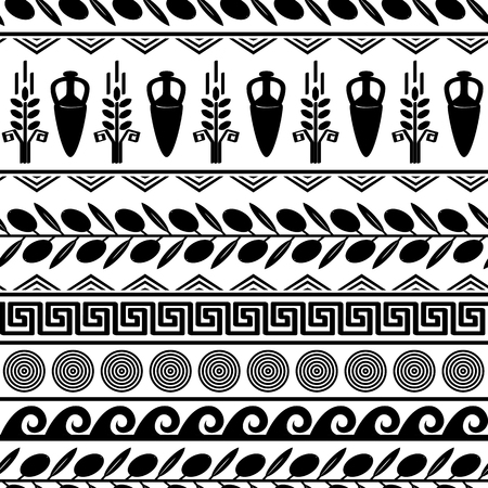 Seamless pattern with olives, wheat, amphora, and greek symbols.