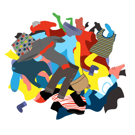 Illustration for Illustration Featuring a Messy Pile of Dirty Laundry. Kids clothing vector. Kids clothing ready for wash - Royalty Free Image
