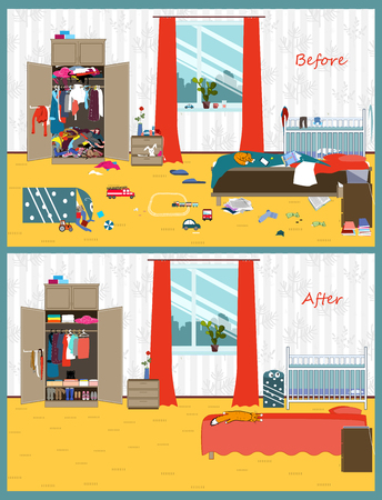 Illustration for Dirty and clean room. Disorder in the interior. Room before and after cleaning. Flat style vector illustration. - Royalty Free Image