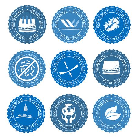 Illustration pour Icons set of fabric features. Vector collection - image libre de droit
